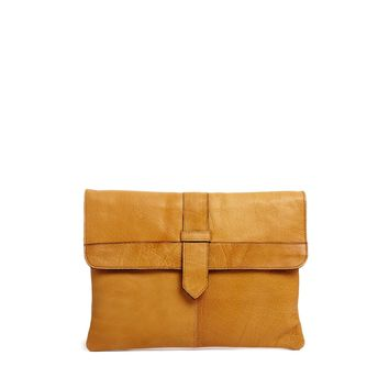 ASOS Leather Clutch Bag In Vintage Effect