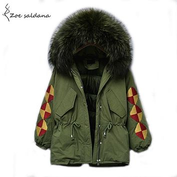 Zoe Saldana 2017 Natural Fur Collar Winter Jacket Women Duck Down Coats Thick Parkas Vintage Embroidery Womens Winter Coat