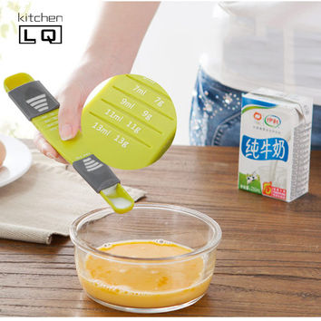 New Creative Ajustbale Kitchen Measuring Spoons Plastic Gram Measuring Spoons Cups Measuring Tools For Baking Coffee Utensil Kit