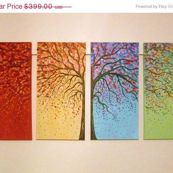 Commission order large original  tree oil painting - rust red, blue , green, yellow 4 canvas set 48 x 24 by Vadal