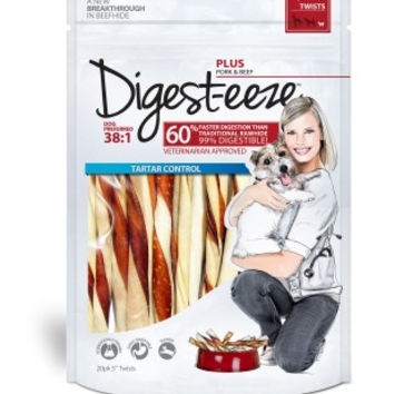 Digest-eeze Beefhide Pork & Beef Twists Dog Treats 20ct