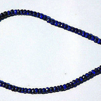 "Blue Sapphires Faceted Rondelle 3-4mm 14"" Strand"
