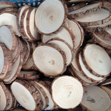 30pcs Rustic Natural Round Wood Pine Tree Slice Disc Wedding Centerpiece Decor (Size: 30pcs )