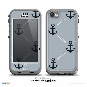 The Navy & Gray Vintage Solid Color Anchor Linked Skin for the iPhone 5c nüüd LifeProof Case