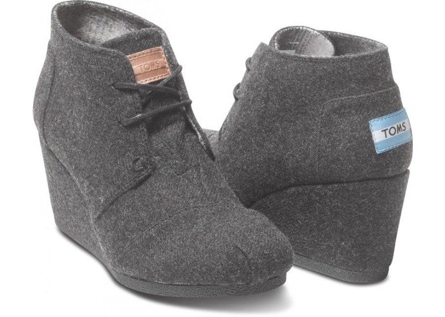 Grey wool women 39 s desert wedges from toms walk in my - Most comfortable bedroom slippers ...