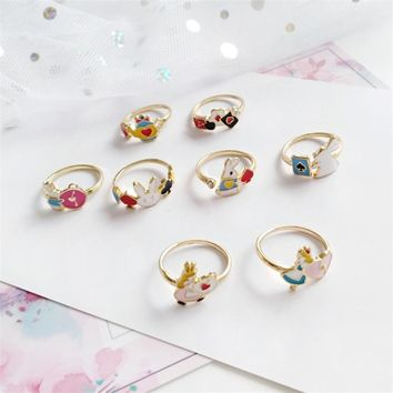 Fairytale Sleepwalking Wonderland Cartoon Alice Animal Bunny Ring Poker Card Teapot Joint Ring Female Trendy Jewelry Accessories