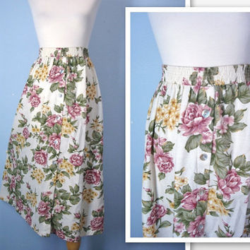 1980s Floral Skirt / 80s Cottage Garden High Waist by SnapVintage