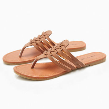 Vegan Leather Grecian Slide Sandals | Wet Seal