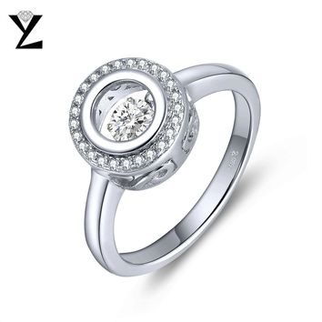 YL 925 Sterling Silver Wedding Rings for Women Fine Jewelry Engagement with Dancing Natural Topaz Stone Ring Party Accessories