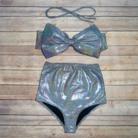 Bow Bandeau Bikini - Vintage Style High Waisted Pin-up Swimwear -  Stunning Holographic Sparkle Fabric - Unique & So Cute!