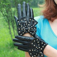 Women LADY Rivets Butterfly Bow Soft PU Leather Gloves 4 Colors = 1958152132