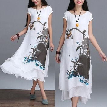 2016 New Summer Chinese Style O Neck Linen Cotton Slim Dress False Two Art Print Ink Loose Casual White Maxi Work Dresses Design
