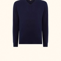 The Conduit Fine Gauge V Neck Sweater in French Navy Blue - N.PEAL Luxury Cashmere