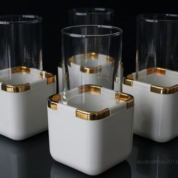 Set Cocktail Glasses with Coolers Gold and White Hollywood Regency Gold Home Decor Mid Century Gold Bar Cart Accessories Collins Glass Set