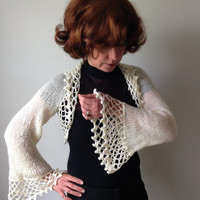 Off White Bolero Shrug - Ballroom Cover Up - Knit Crochet - Bridal Shrug - Wedding Wrap Stole