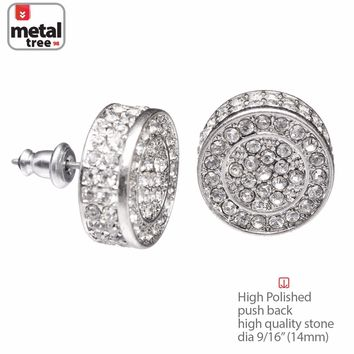 Jewelry Kay style Hip Hop Men's Bling Silver XL Flat Round Micro Pave AAA CZ Stud Earrings TE 530S