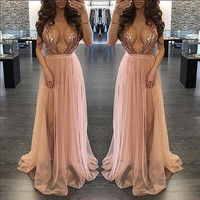 Women Sexy V Neck Sequins Bridesmaid Formal Gown Ball Party Evening Prom Long Maxi Dress Clubwear
