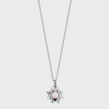 Protea Charm Necklace with Stone - silver/rose quartz