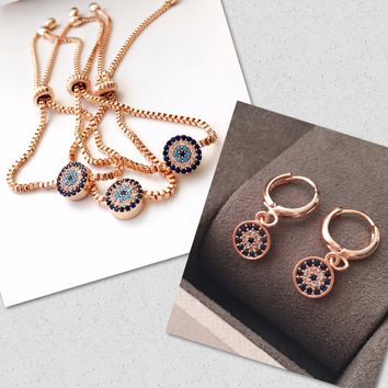 Rose gold bridesmaid jewelry set, evil eye bracelet earrings, bridesmaid gift