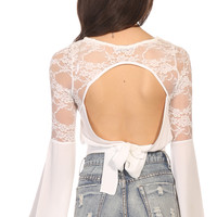 Tops > BOHO BABE CROP - white lace detail crop top with open back and long sleeves
