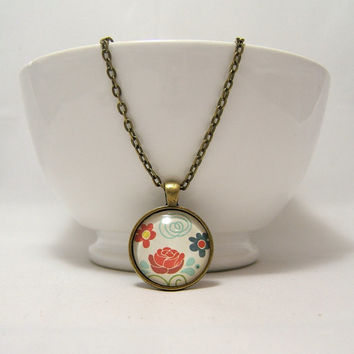 FLOWERS Pendant NECKLACE ~ Rose Flowers Print ~ 25mm  1 inch ~ 24 Inch Chain ~ Glass Dome Pendant ~ Flowers Picture ~ Bronze ~Glass Cabochon