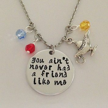"Disney inspired Aladdin necklace ""You ain't never had a friend like me"" Genie Jasmine hand stamped swarovski crystals and genie lamp charm"