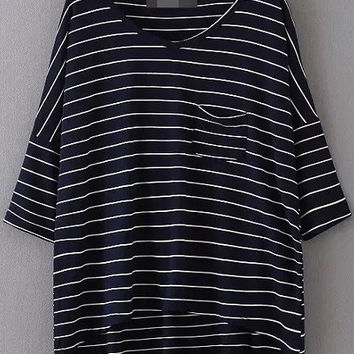 Navy Pocket Striped Short Sleeve Short Front T-shirt
