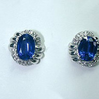 3.39ct Oval Sapphire Diamonds Earrings 18kt white gold  JEWELFORME BLUE