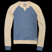 UNIONMADE - J. Press York St. - French Terry Raglan Sweatshirt in Denim Blue and Cream