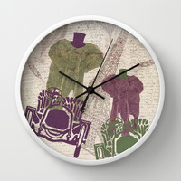 Two elephants in Paris Wall Clock by Paula Belle Flores