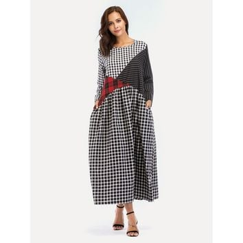 Stripe And Plaid Contrast Hidden Pocket Longline Dress