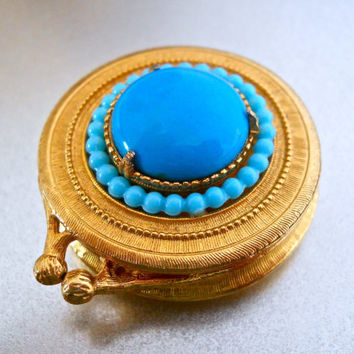 Pill Trinket Box FLORENZA Lucite Turquoise Gold Tone Vintage