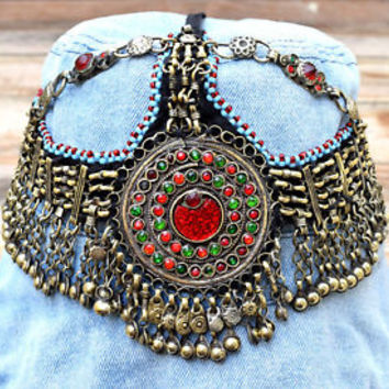 Afghan Kuchi Headpiece Tribal Head Dress Piece Ethnic Headdress Gypsy Boho Band