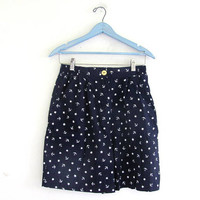 vintage star print shorts / July 4th / white and blue shorts / size M
