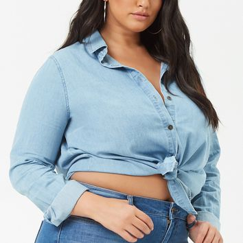 Plus Size Chambray Curved Hem Shirt