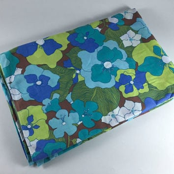 Vintage Flower Twin Flat Sheet Retro Green Blue Purple Floral Fabric Linens Bedding By Pequot Bedroom Decor
