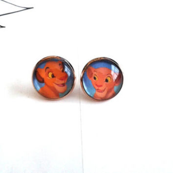 ON SALE - Made To Order - The Lion King Simba and Nala Earrings