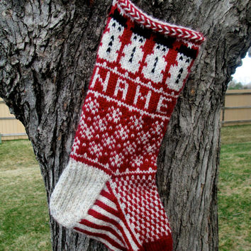 Snowmen Stocking - hand knit, custom name included, made to order / snowman