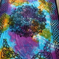 "Hippie/Indian Tapestry/Wall/Bedspread/Tablecloth Tie Dye Celtic Knot Zodiac 72""x 108"" TP39TD"
