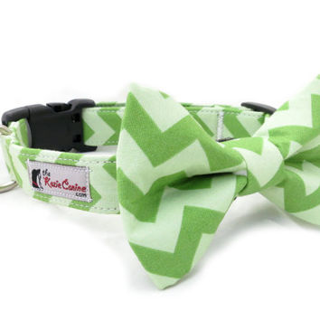 Lime Green Chevron Dog Collar (Dog Collar Only - Matching Bow Tie Available Separately)