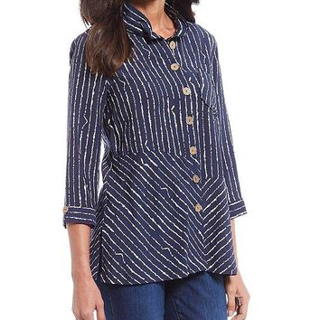 Button Front Textured Stripe Woven Crinkle Shirt