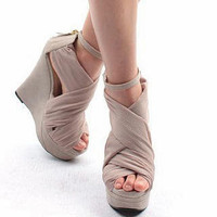YESSTYLE: Mancienne- Cross Strap Wedge Sandals (Pale Pink - 38) - Free International Shipping on orders over $150