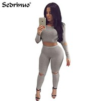 2016 Women Jumpsuit Two pieces Knitted Rompers outfits Long Pants Rompers Jumpsuit 2 Piece Set Crop Tops Bodycon Palysuit gray