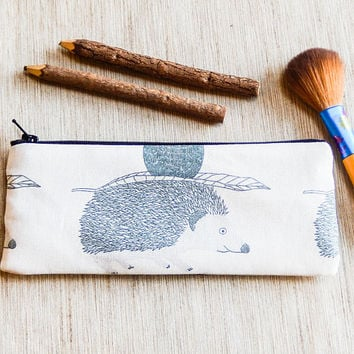 Hedgehog Pouch, Cute Pencil Pouch, Pouch, Fabric Zipper Pouch, School Supply, Gift for Teacher, Teacher Gift, Gift for her, Cute Gift,