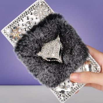 Luxury 3D Fox Bling Diamond Real Rabbit Fur Cover for iphone 6 7 7plus  8 X  Wallet Crystal Back Phone Case