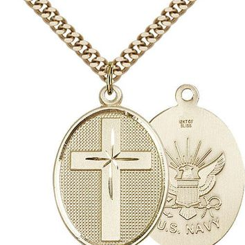 Men's 14K Gold Filled Cross Navy Military Soldier Catholic Medal Necklace 617759207279