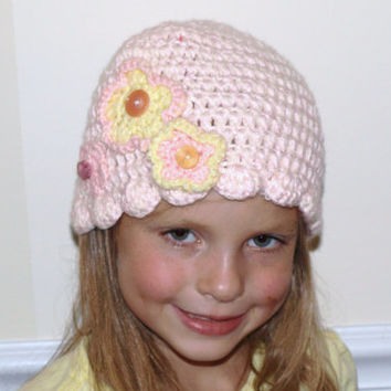pink and yellow crochet hat- crocheted cap with flowers- kids accessories