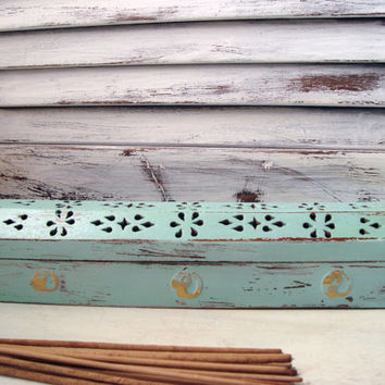 Sea Glass Green Distressed Incense Burner, Incense Coffin, Incense Box, Light Green Wooden Box, Shabby Chic Wooden Box, Gift Ideas