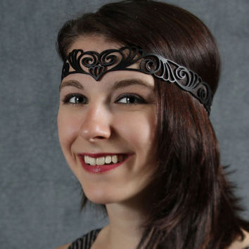 Nouveau Deco leather head wreath in black by TomBanwell on Etsy