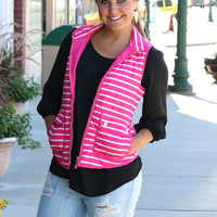 Fall For This Vest - Hot Pink